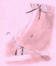 rysunek przedstawiający kobietę w bieliźnie
